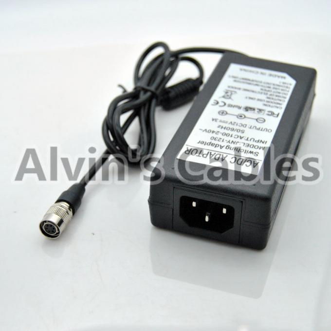 Industrial Basler Camera Power Adapter 12V 3A 6pin Female Hirose Black Color