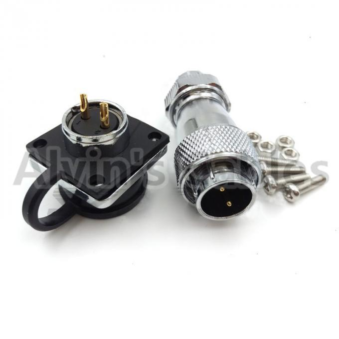 WS16 2 Pin High Voltage Connectors Plug Socket Industrial Power IP68 Threaded Couping