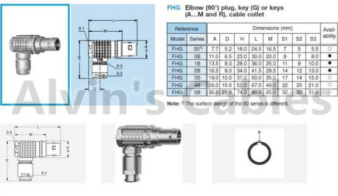 Lemo FHG 1B 2 - 16 Pin Elbow Plug Compatible Connector 90 Degree For Audio Video Equipment