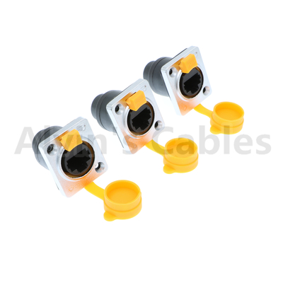 Alvin's Cables RJ45 Waterproof Connector Sockets IP65 Ethernet Panel Mount RJ45 Connector 3 Pcs