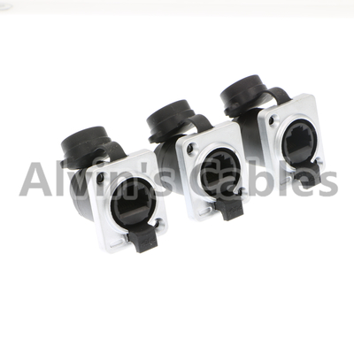 Alvin's Cables 3 Pcs RJ45 Waterproof Coupler Socket Connector IP65 Ethernet Panel Mount RJ45 Connector Black