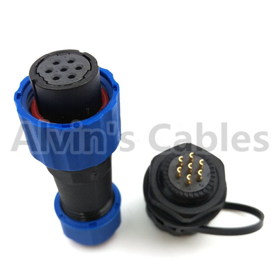 Industrial IP68 Plastic Electrical Connectors SD16 TP-ZM 2 - 9 Pin Panel Mounting Connector