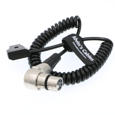 XLR 4 Pin Right Angle To D-Tap Coiled Power Cable For ARRI ALEXA Camera Monitor