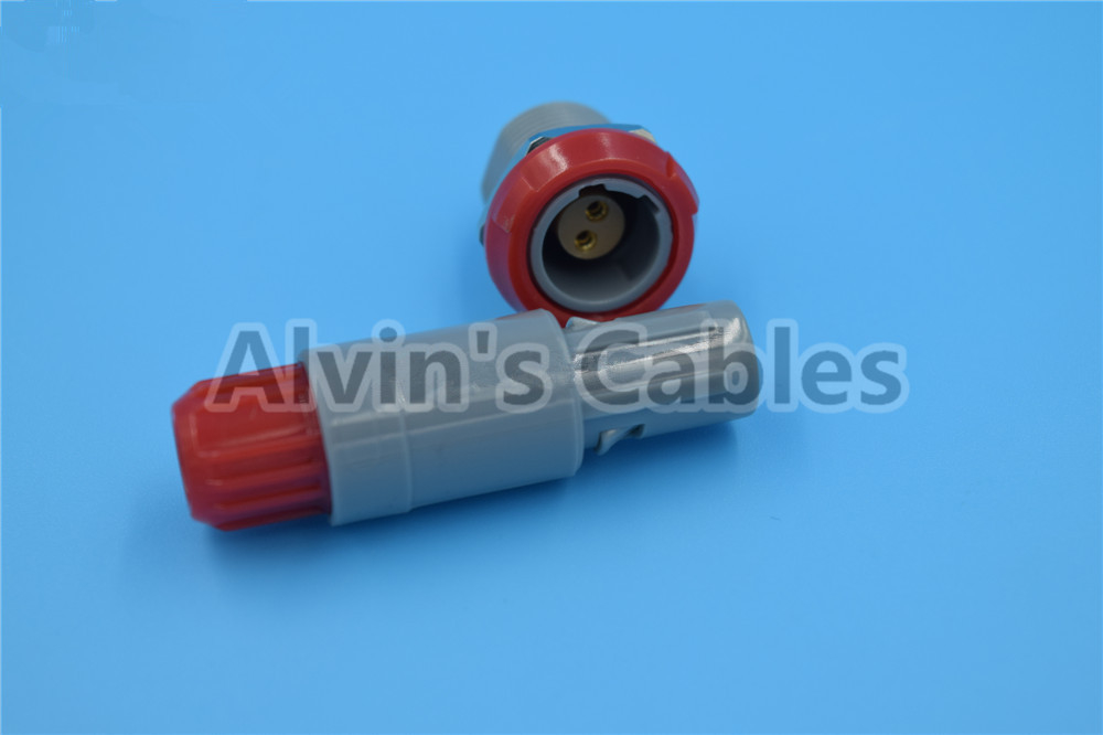 LEMO 2 Pin Connectors Pin Pin 1P PAA / PLA Plastic Plug In Pin Socket 40 Degree Dual Positioning