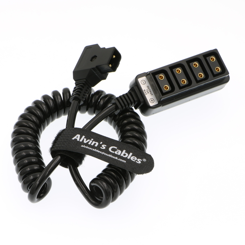 Alvin's Cables D Tap Male to 4 Port D Tap Female Coiled Splitter Cable for Anton Bauer V-Mount Battery supplier